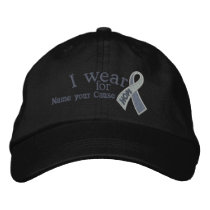 Personalized Grey Hope Ribbon Awareness Your Text Embroidered Baseball Hat