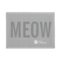 Personalized Grey Meow Cat Pet Mat