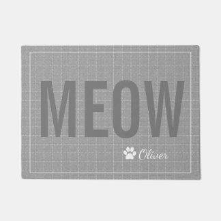 Personalized Grey Meow Cat Pet Mat