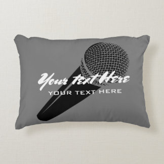 Personalized grey microphone accent throw pillow