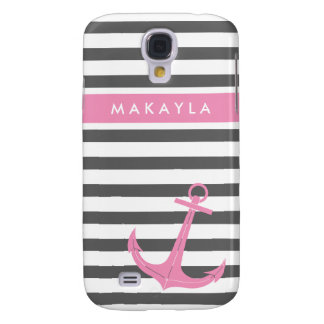 Personalized Grey Stripes and Pink Anchor Galaxy S4 Cover
