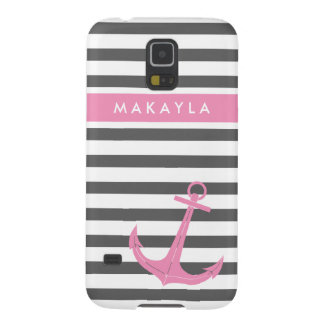 Personalized Grey Stripes and Pink Anchor Galaxy S5 Case