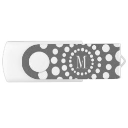 Personalized Grey USB Flash Drive Monogram