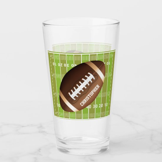Personalized Grid Iron Football Glas