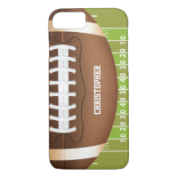 Personalized Grid Iron Football on Field iPhone 7 Case