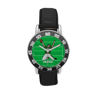 Personalized grid iron footballer design wrist watches