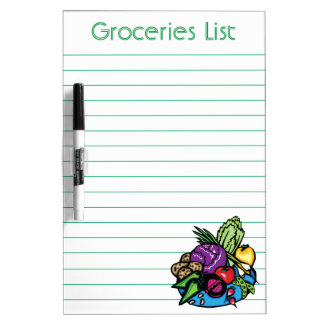Personalized Groceries List Dry Erase Board