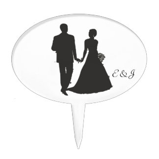 Personalized Groom and Bride Cake Pick