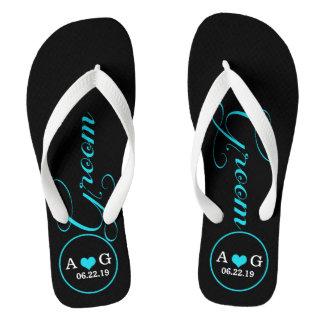Personalized Groom (blue) Flip Flops