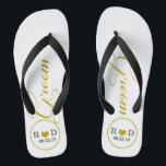 "Personalized Groom (gold) Flip Flops<br><div class=""desc"">Fun,  custom wedding flip flops</div>"