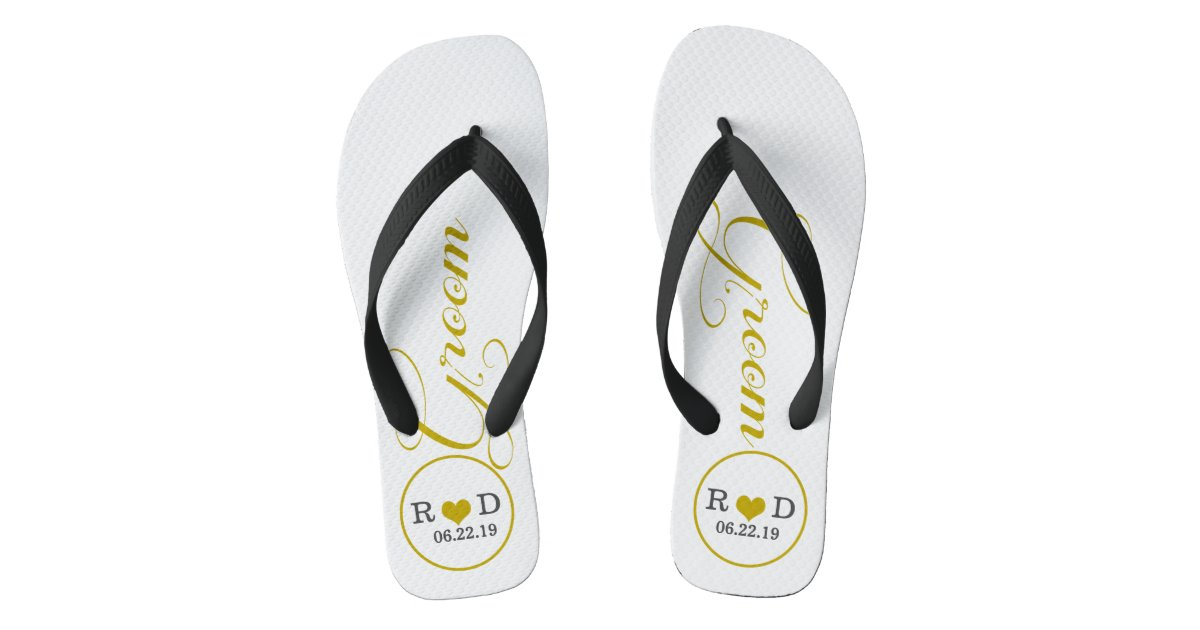 c56ddc70474f Personalized Groom (gold) Flip Flops