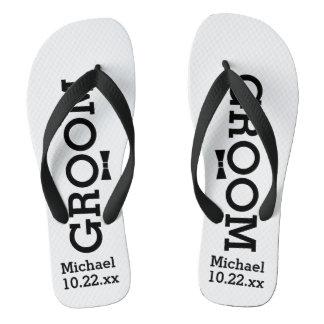 Personalized Groom Wedding - Custom Colors Flip Flops