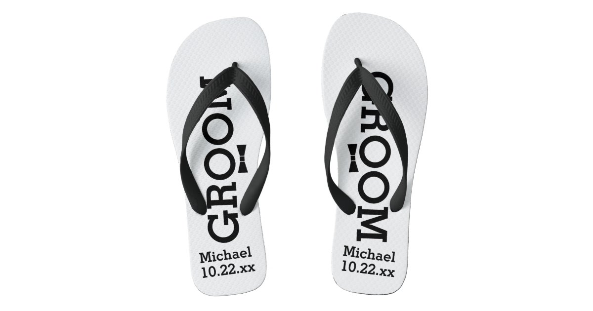 867166173925 Personalized Groom Wedding - Custom Colors Flip Flops
