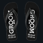 """Personalized Groom Wedding - Pick Your Color Flip Flops<br><div class=""""desc"""">Celebrate your wedding day celebration in comfort with these personalized flip flops. Customize with the groom's name and wedding date. The background is black, however you can change the color by clicking on Customize It. Because of the white text you'll need to pick a dark color background. They're great for...</div>"""