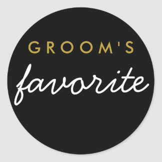 Personalized Groom's Favorite Sticker Black Gold
