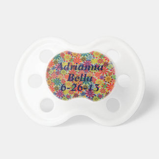 Personalized Groovy Colorful Flowers Girl Binky BooginHead Pacifier