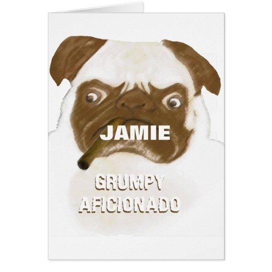 Personalized Grumpy AFICIONADO Puggy Cigar Card