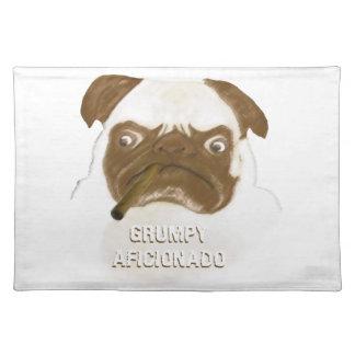 Personalized Grumpy AFICIONADO Puggy Cigar Cloth Placemat