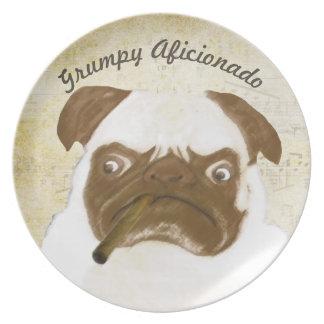 Personalized Grumpy AFICIONADO Puggy Cigar Dinner Plate
