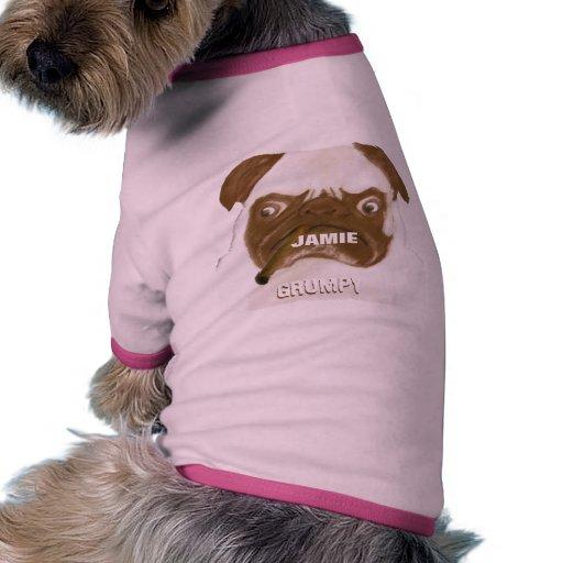 Personalized Grumpy AFICIONADO Puggy Cigar Doggie T-shirt