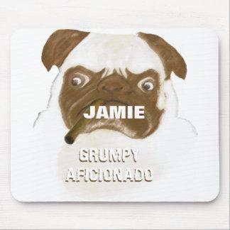 Personalized Grumpy AFICIONADO Puggy Cigar Mouse Pad