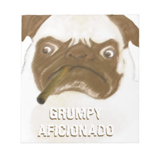 Personalized Grumpy AFICIONADO Puggy Cigar Memo Notepads