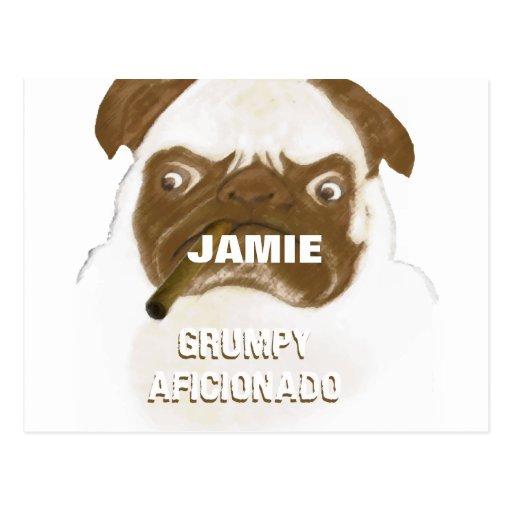 Personalized Grumpy AFICIONADO Puggy Cigar Postcard