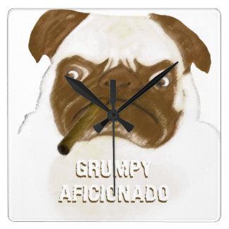 Personalized Grumpy AFICIONADO Puggy Cigar Square Wall Clock
