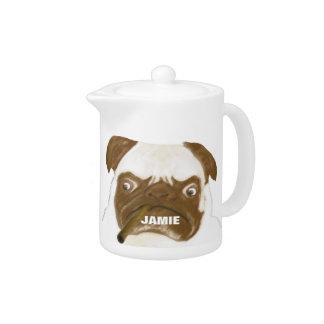 Personalized Grumpy AFICIONADO Puggy Cigar Teapot