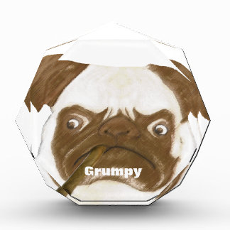 Personalized Grumpy Puggy with Cigar Acrylic Award