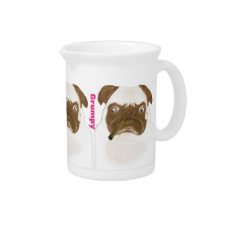 Personalized Grumpy Puggy with Cigar Beverage Pitcher