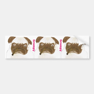 Personalized Grumpy Puggy with Cigar Bumper Sticker