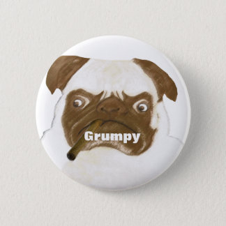 Personalized Grumpy Puggy with Cigar Button