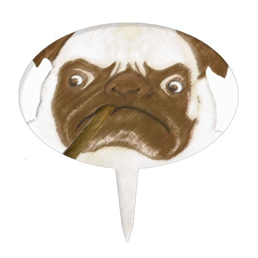 Personalized Grumpy Puggy with Cigar Cake Picks