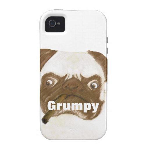 Personalized Grumpy Puggy with Cigar iPhone 4/4S Cover