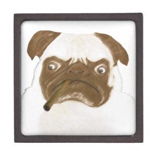 Personalized Grumpy Puggy with Cigar Jewelry Box