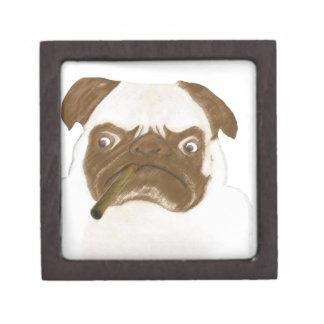 Personalized Grumpy Puggy with Cigar Keepsake Box