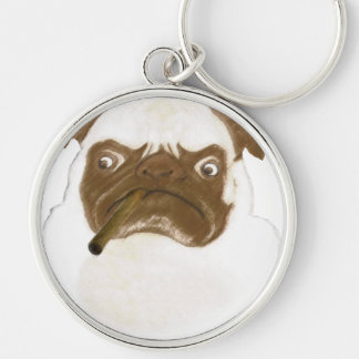 Personalized Grumpy Puggy with Cigar Keychain