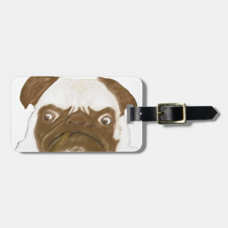 Personalized Grumpy Puggy with Cigar Luggage Tag
