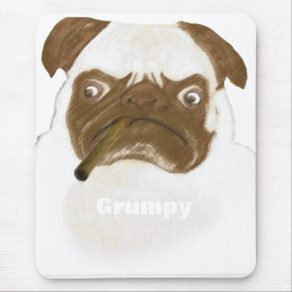 Personalized Grumpy Puggy with Cigar Mouse Pad
