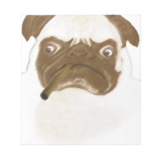 Personalized Grumpy Puggy with Cigar Memo Notepad