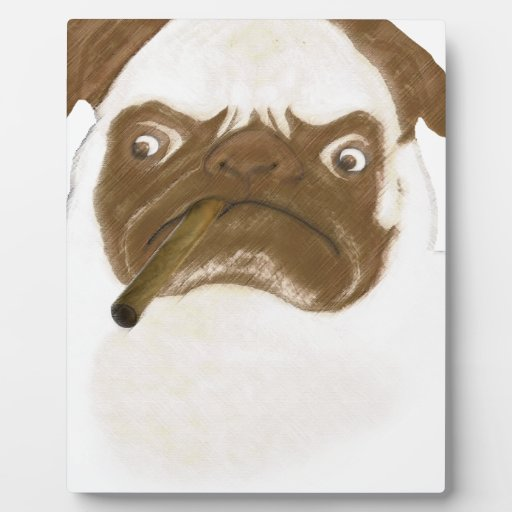 Personalized Grumpy Puggy with Cigar Plaque