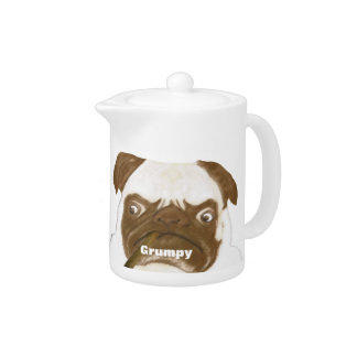 Personalized Grumpy Puggy with Cigar Teapot