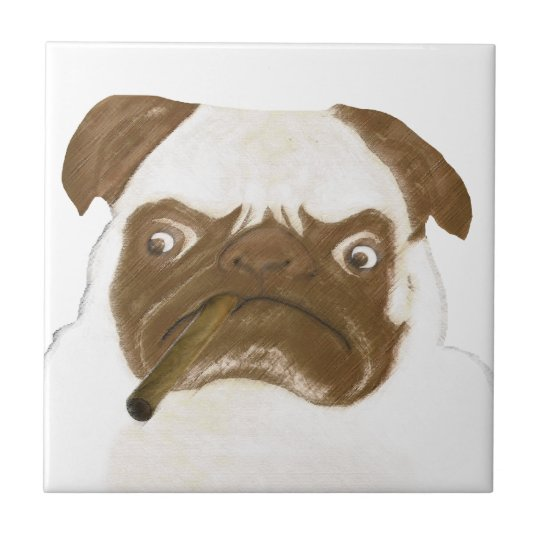 Personalized Grumpy Puggy with Cigar Tile