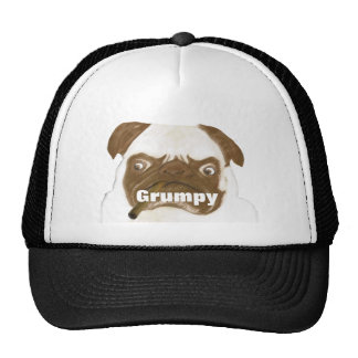 Personalized Grumpy Puggy with Cigar Trucker Hat