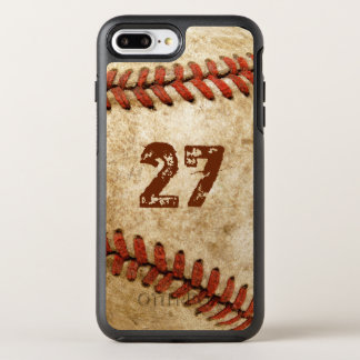 Personalized Grunge Baseball with Your Number OtterBox Symmetry iPhone 8 Plus/7 Plus Case