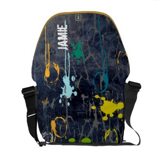 Personalized Grunge Cracked Paint Messenger Bag rickshawmessengerbag