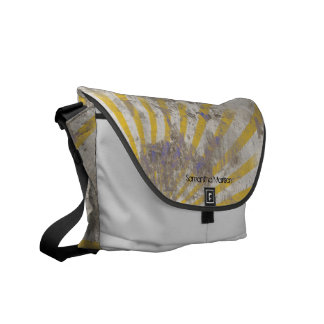Personalized Grunge Sun Rays Gray/Yellow Tote Courier Bag