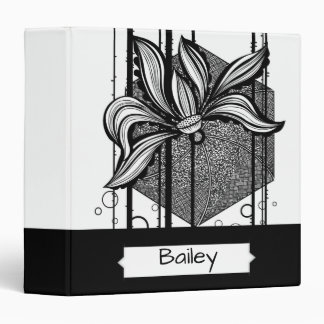 Personalized Grungy Black & White Water Lilly Binder