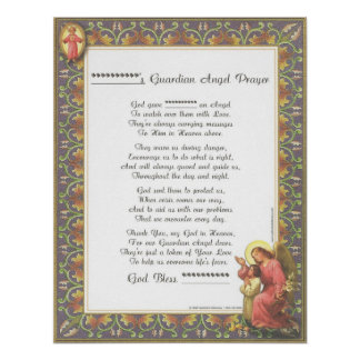 Personalized Guardian Angel Baptism Birth Prayer Poster